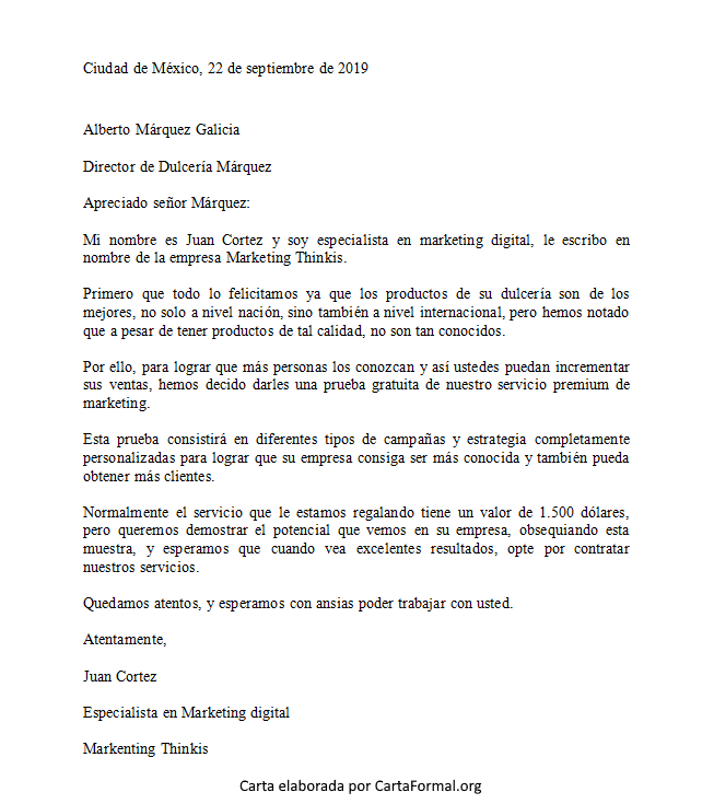 Carta Formal Para Un Director De Empresa Escuela Y General