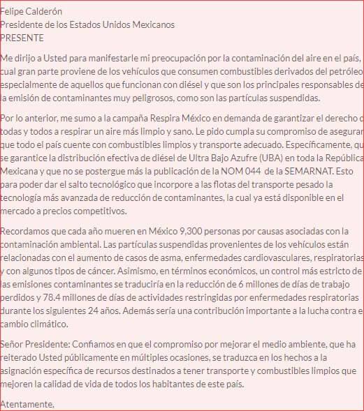 carta formal espanol