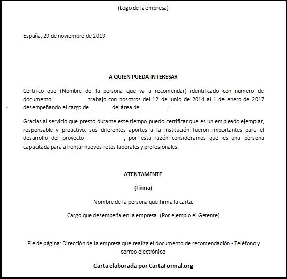 Carta De Recomendación Laboral Ejemplos Y Formato