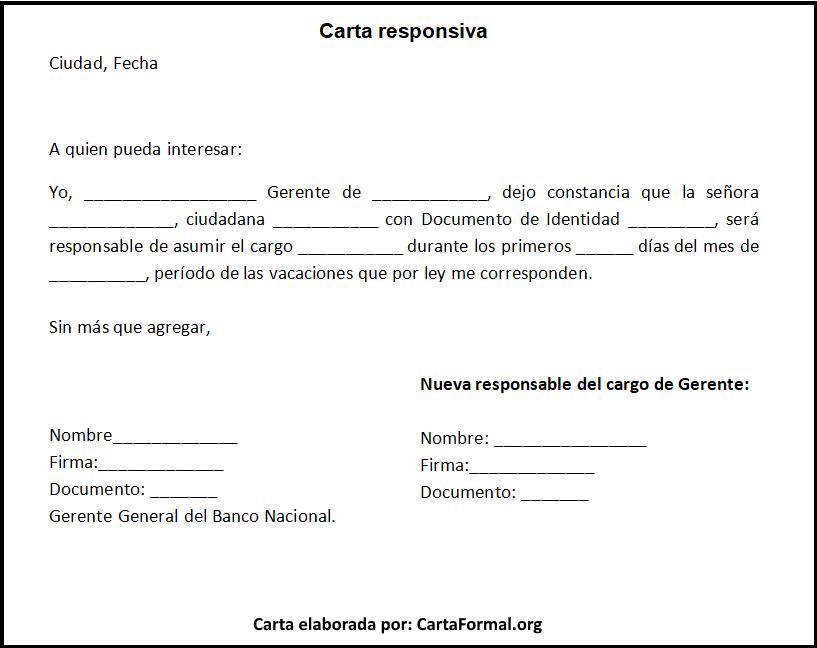 Carta Responsiva Ejemplos Con Explicación