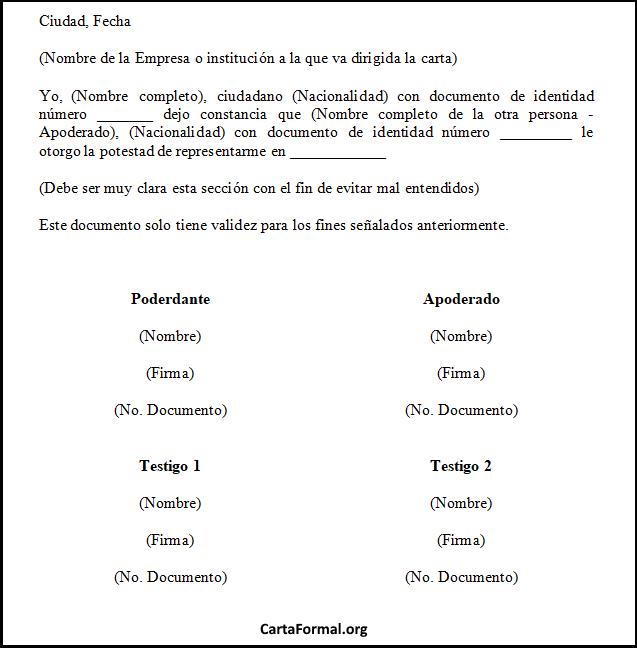 Ejemplo De Carta Poder Modelo Y Formato De La Carta De Poder